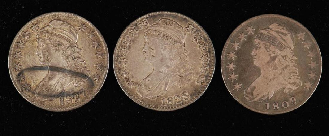 (3) CAPPED BUST SILVER HALF DOLLAR 1809,1823,1827 - 4