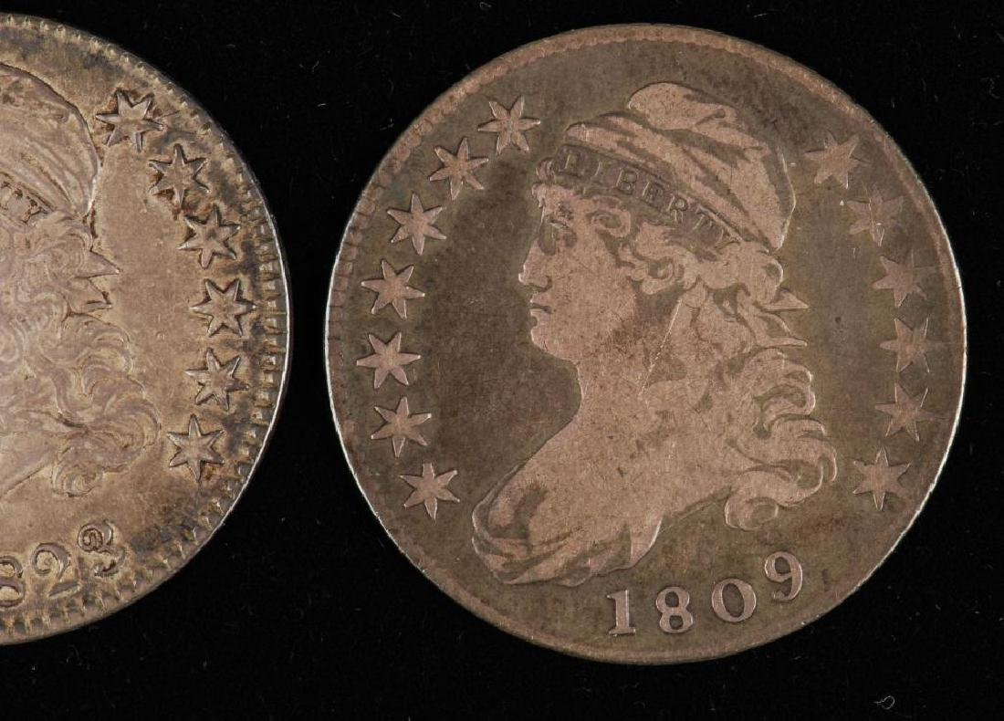 (3) CAPPED BUST SILVER HALF DOLLAR 1809,1823,1827 - 7
