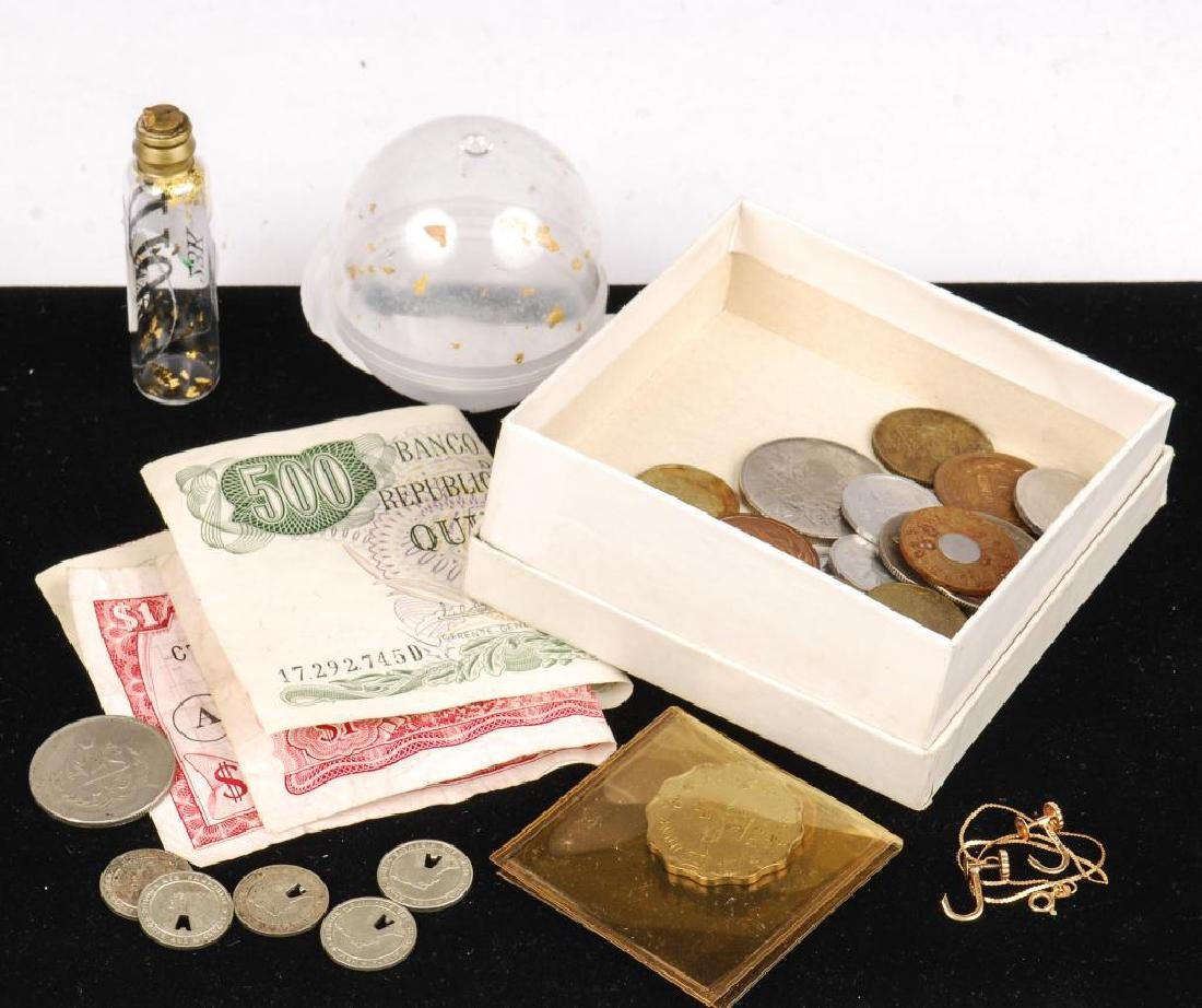 SMALL LOT OF GOLD, FORIEGN COINS, CURRENCY ETC