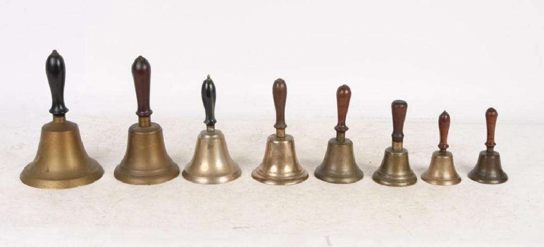 (8) ANTIQUE GRADUATING BRASS HAND BELLS