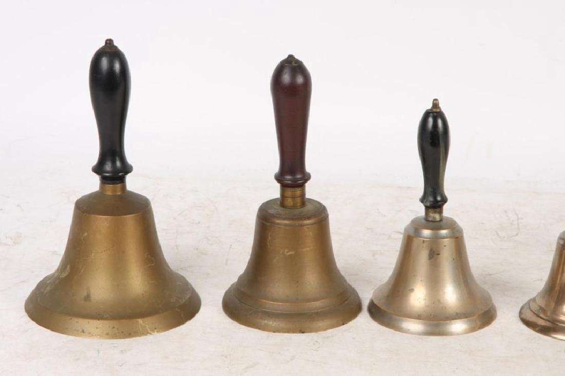 (8) ANTIQUE GRADUATING BRASS HAND BELLS - 4