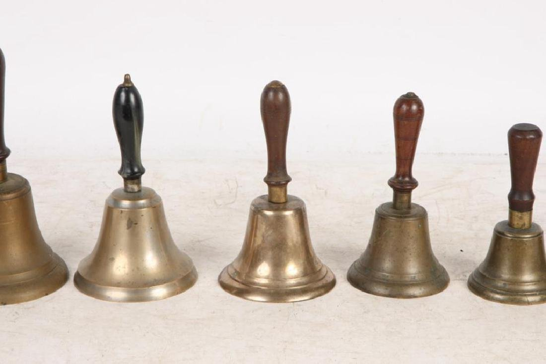 (8) ANTIQUE GRADUATING BRASS HAND BELLS - 5