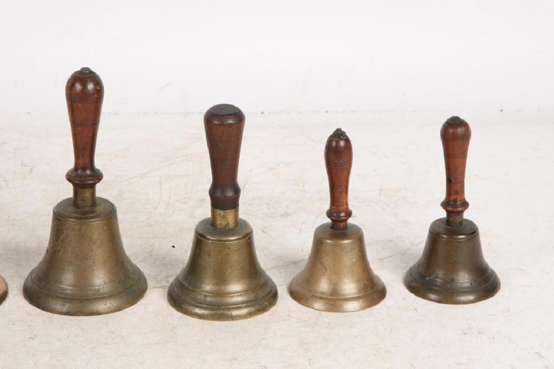(8) ANTIQUE GRADUATING BRASS HAND BELLS - 6