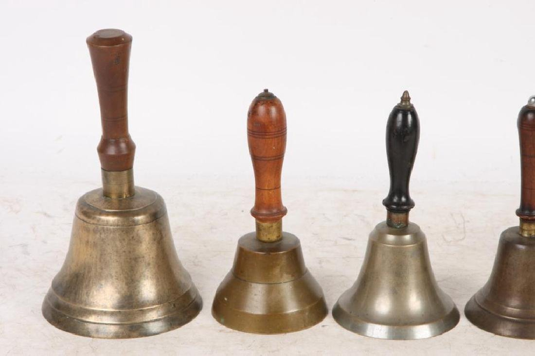 (7) ANTIQUE GRADUATING BRASS HAND BELLS - 5
