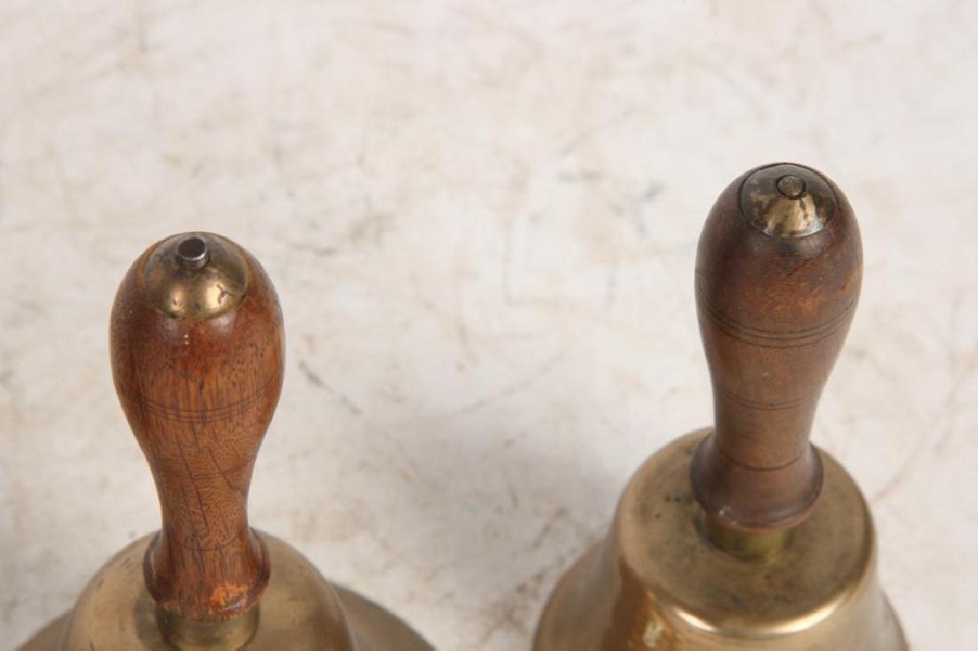 (7) ANTIQUE GRADUATING BRASS HAND BELLS - 9