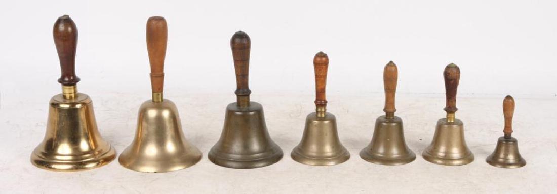(7) ANTIQUE GRADUATING BRASS HAND BELLS