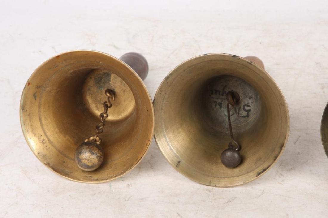 (7) ANTIQUE GRADUATING BRASS HAND BELLS - 3