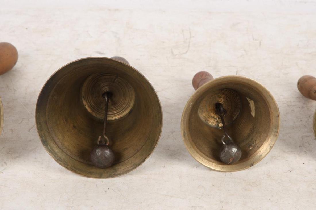 (7) ANTIQUE GRADUATING BRASS HAND BELLS - 4