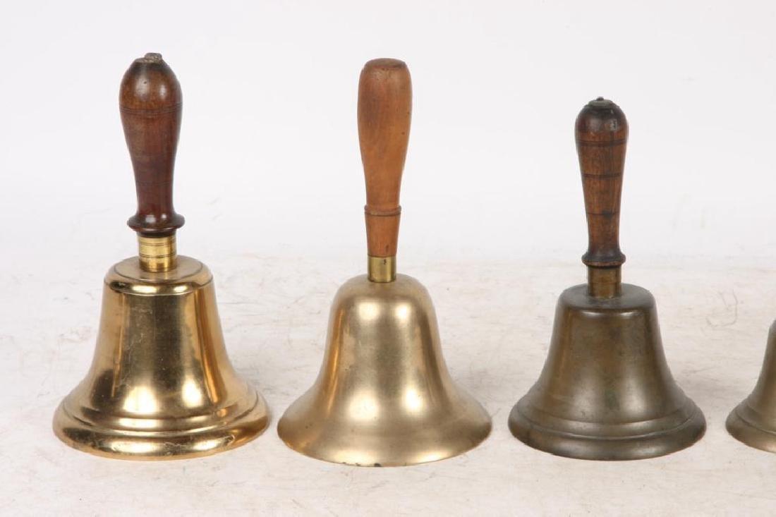 (7) ANTIQUE GRADUATING BRASS HAND BELLS - 6