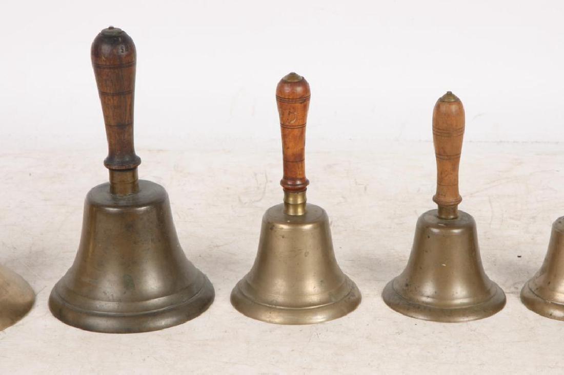 (7) ANTIQUE GRADUATING BRASS HAND BELLS - 7