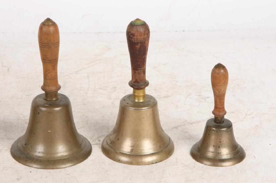 (7) ANTIQUE GRADUATING BRASS HAND BELLS - 8