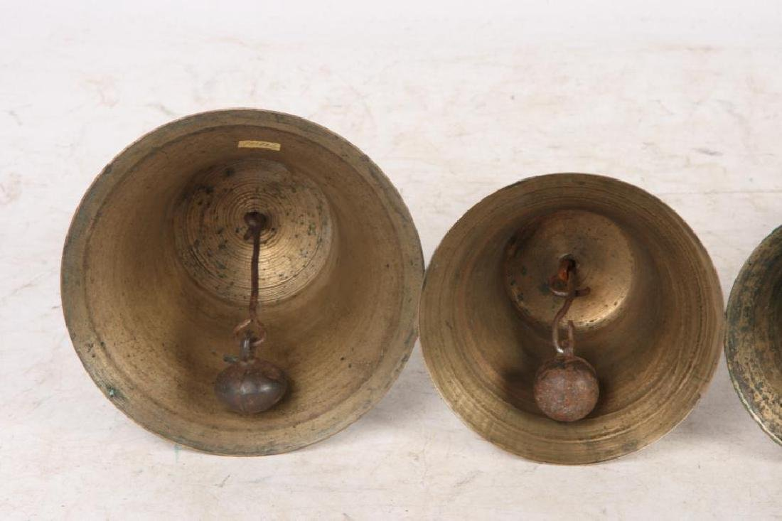 (7) ANTIQUE GRADUATING BRASS HAND BELLS - 2