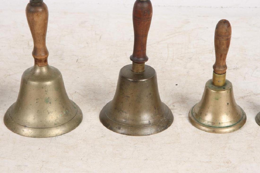 (7) ANTIQUE GRADUATING BRASS HAND BELLS - 6