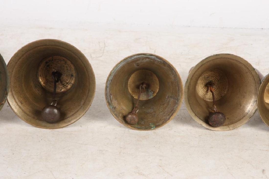 (8) ANTIQUE GRADUATING BRASS HAND BELLS - 3