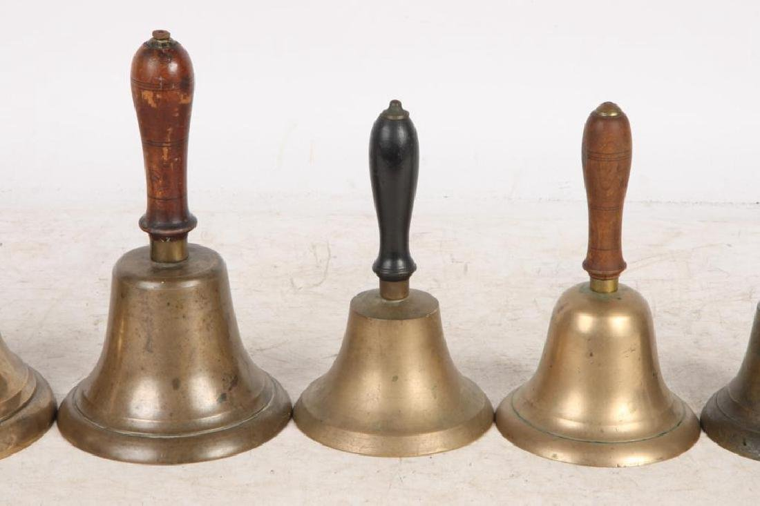 (8) ANTIQUE GRADUATING BRASS HAND BELLS - 6