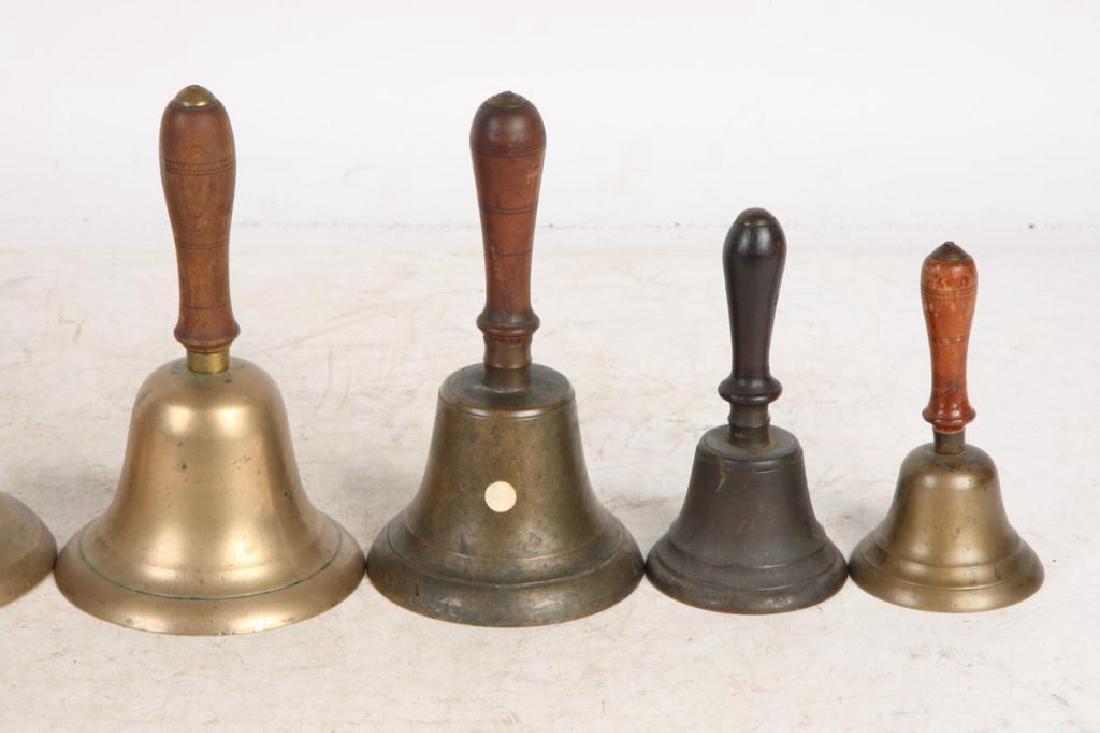 (8) ANTIQUE GRADUATING BRASS HAND BELLS - 7