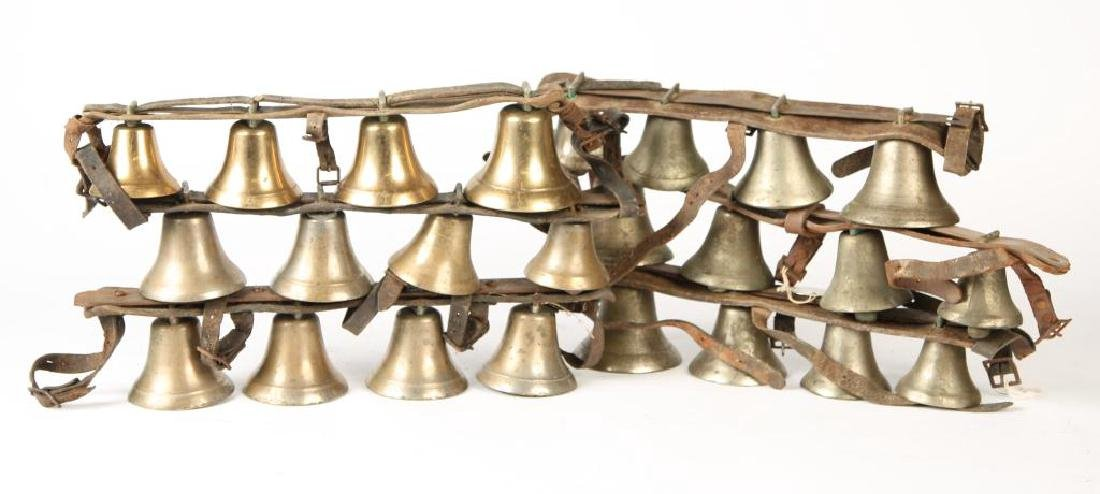 (6) ANTIQUE SHAFT BELLS ON LEATHER STRAPS