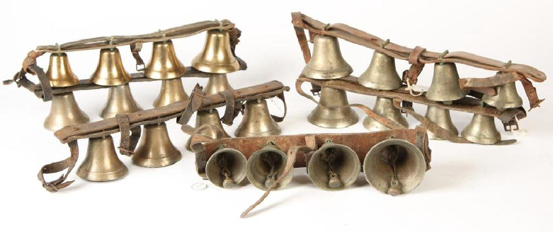 (6) ANTIQUE SHAFT BELLS ON LEATHER STRAPS - 3