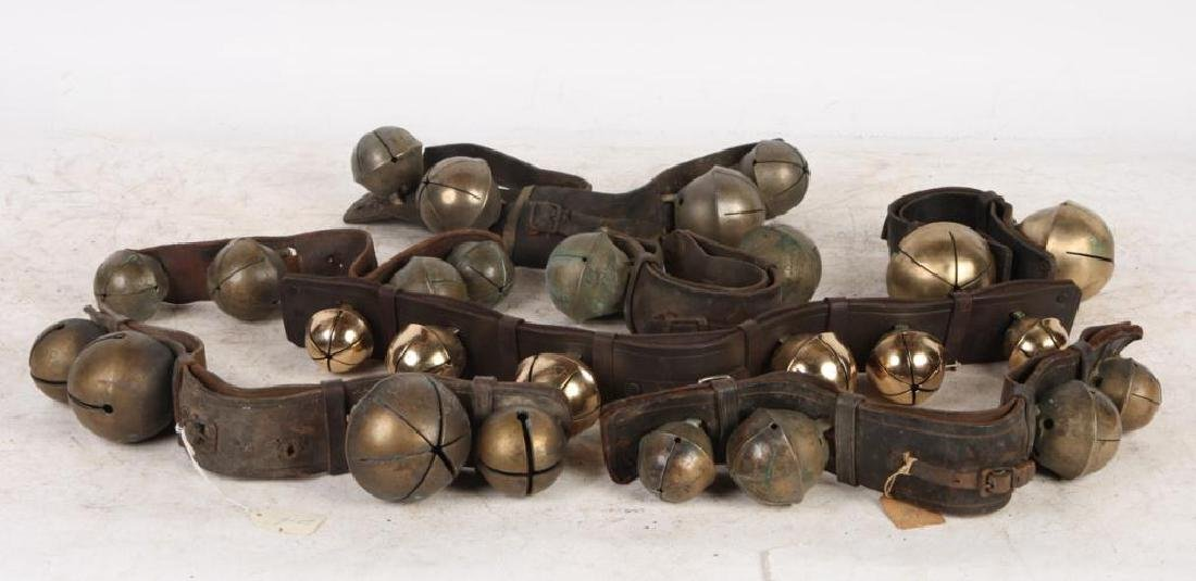 (7) ANTIQUE RUMP STRAP SLEIGH BELLS and (1) NEWER