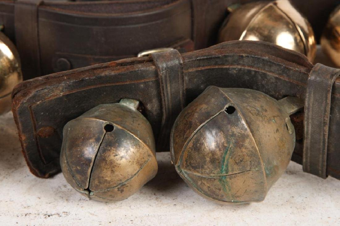 (7) ANTIQUE RUMP STRAP SLEIGH BELLS and (1) NEWER - 4