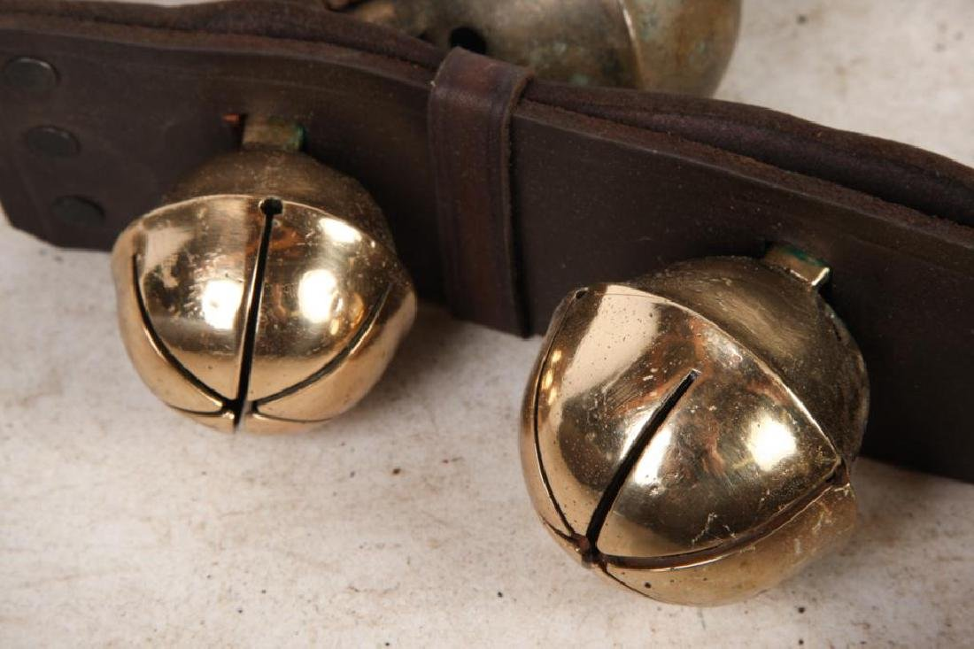 (7) ANTIQUE RUMP STRAP SLEIGH BELLS and (1) NEWER - 5