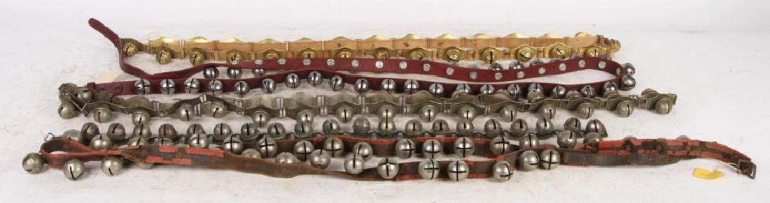 (5) SLEIGH BELLS ON LEATHER AND BRASS HINGE STRAPS