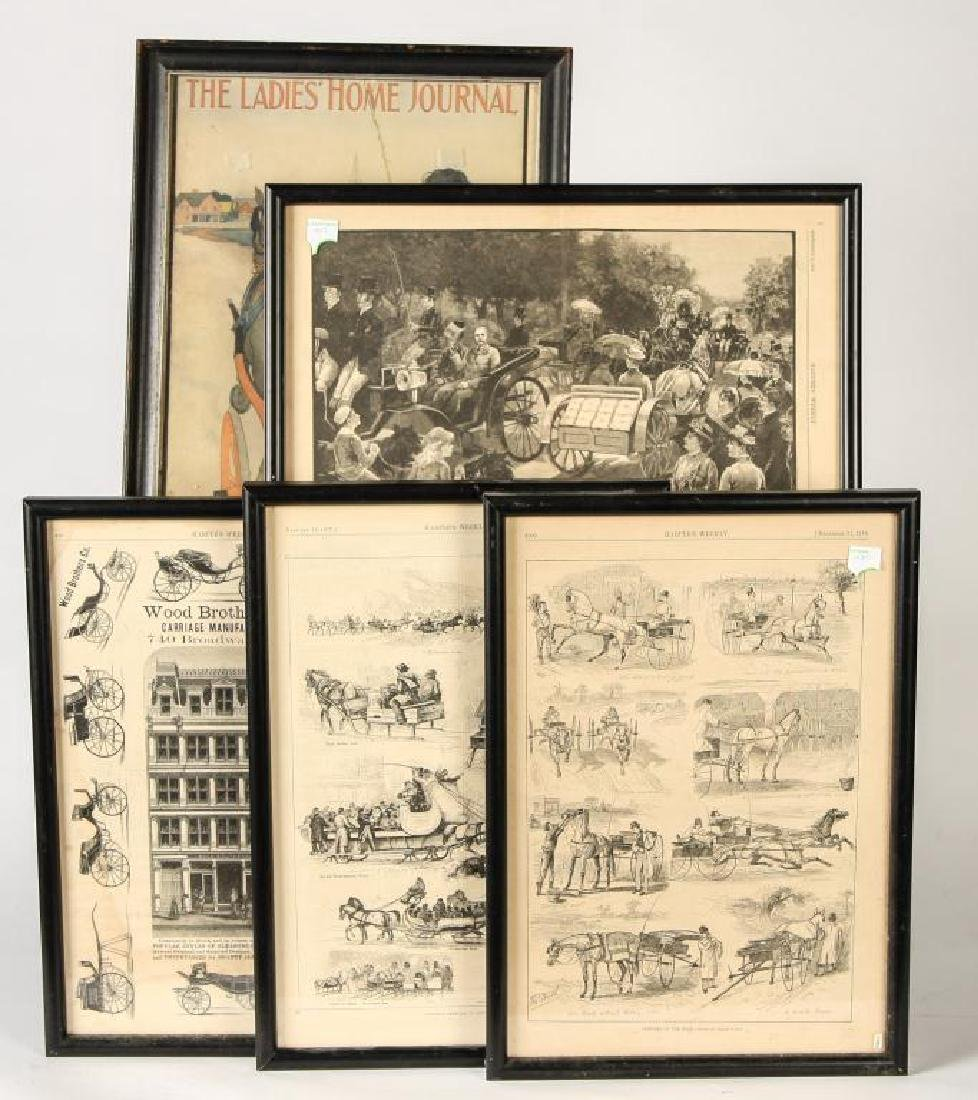 (4) COACHING PRINTS FROM HARPERS & (1) LADIES HOME