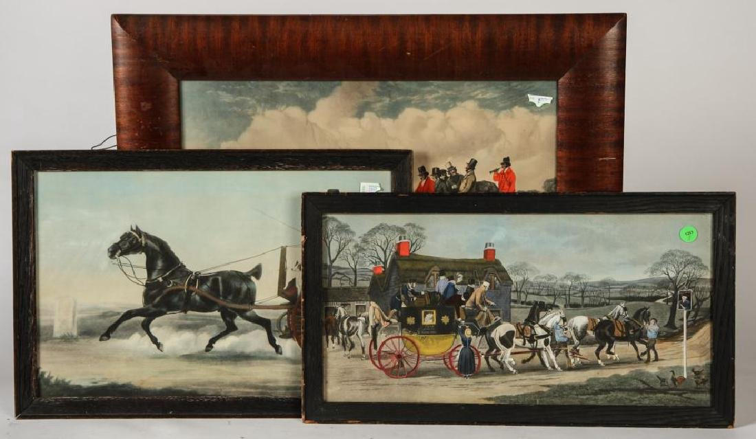 (3) BRIGHT (19th c) COACHING -CARRIAGE LITHOGRAPHS