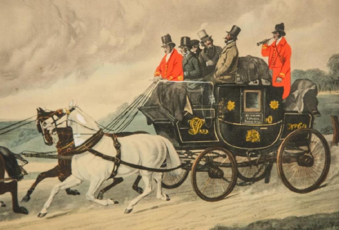 (3) BRIGHT (19th c) COACHING -CARRIAGE LITHOGRAPHS - 3