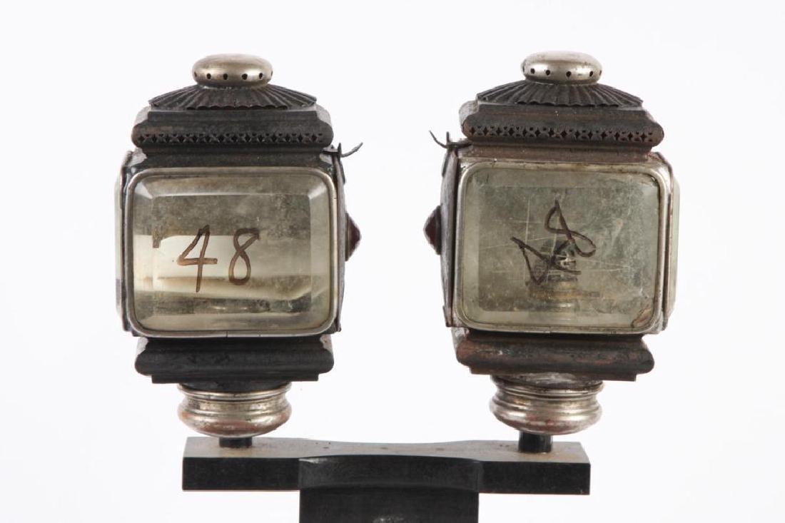 PAIR OF SQUAT SURREY/ PONY LAMPS