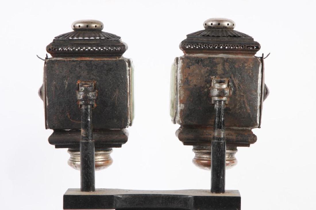 PAIR OF SQUAT SURREY/ PONY LAMPS - 2