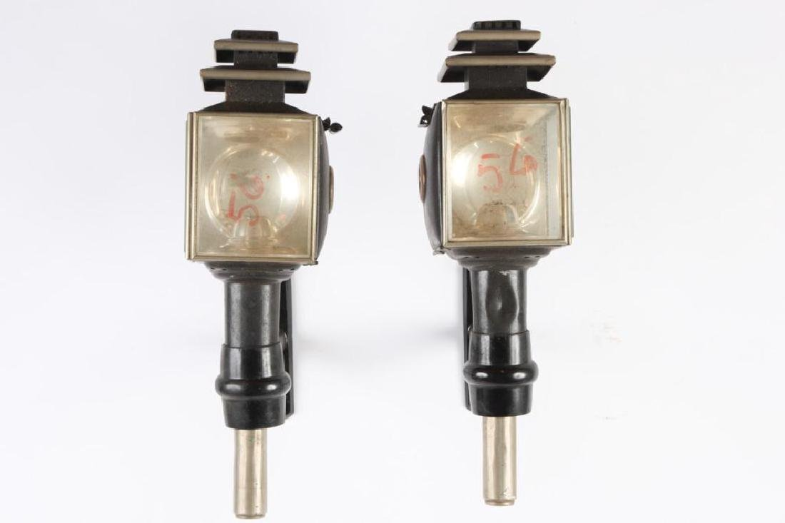 PAIR OF ENGLISH STYLE SQUARE CARRIAGE LAMPS