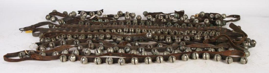 (5) ANTIQUE NICKEL PLATED SLEIGH BELLS ACORN etc