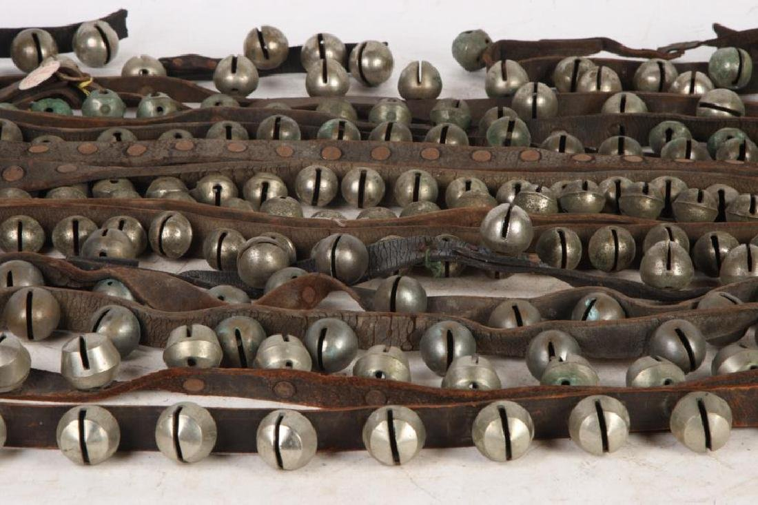 (5) ANTIQUE NICKEL PLATED SLEIGH BELLS ACORN etc - 5