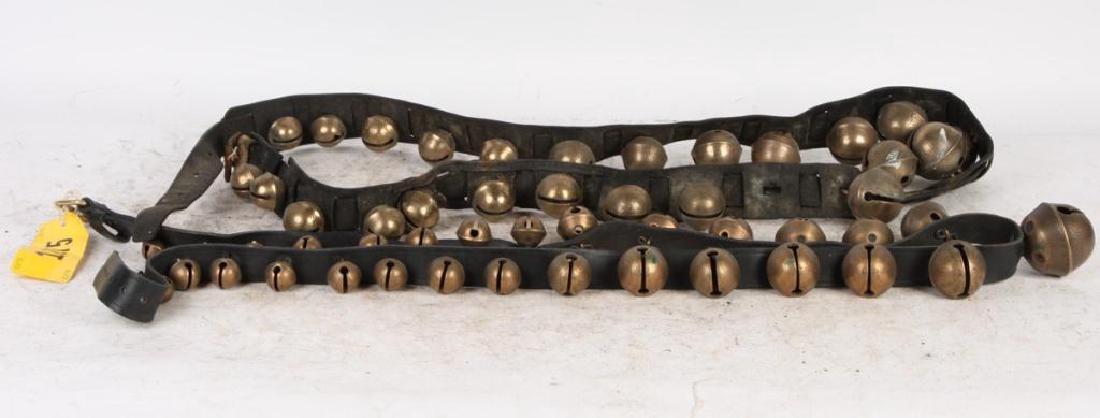(2) BELTS OF GRADUATING BRASS PETAL SLEIGH BELLS