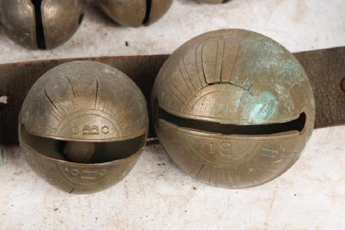 (3) LARGE LEATHER STRAPS OF BRASS PETAL BELLS - 2