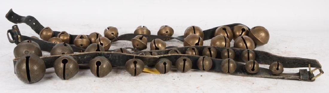 (2) LARGE BELTS OF GRADUATING BRASS PETAL BELLS