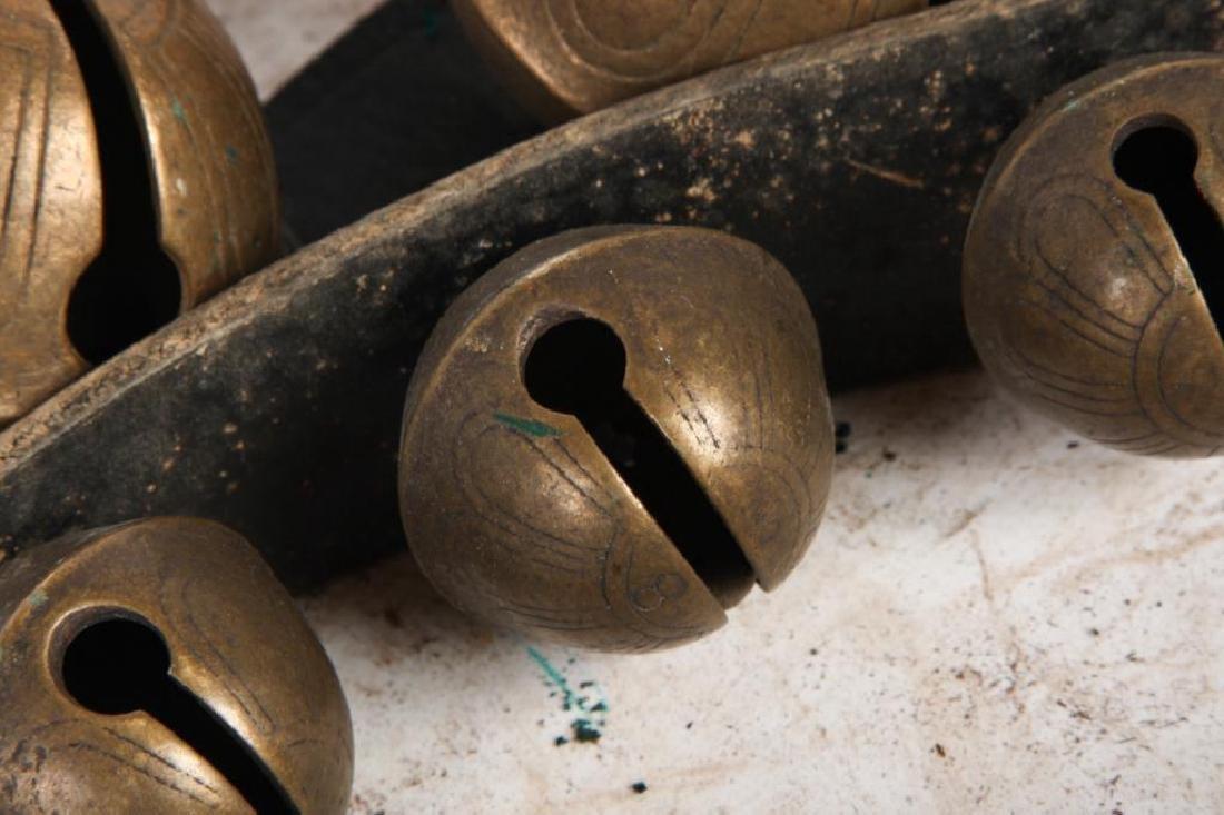 (2) LARGE BELTS OF GRADUATING BRASS PETAL BELLS - 3