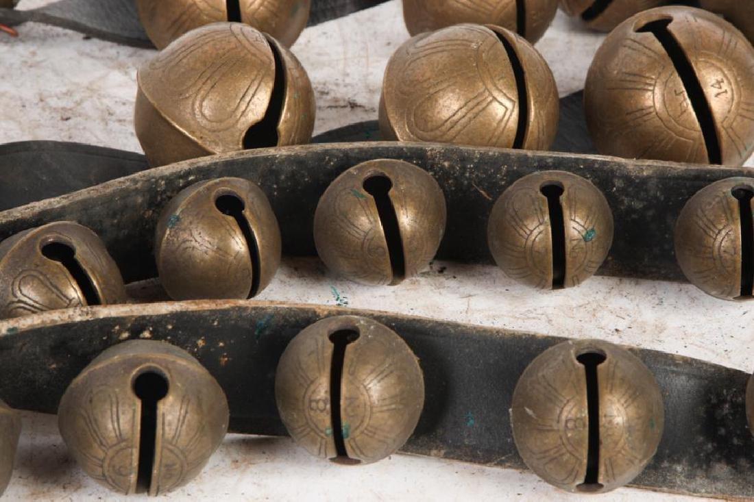 (2) LARGE BELTS OF GRADUATING BRASS PETAL BELLS - 5