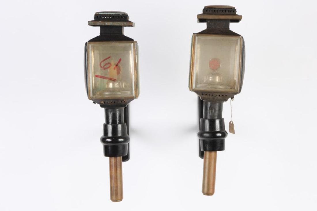 F SHELBY & CO ENGLISH CARRIAGE CANDLE LAMPS (PAIR)