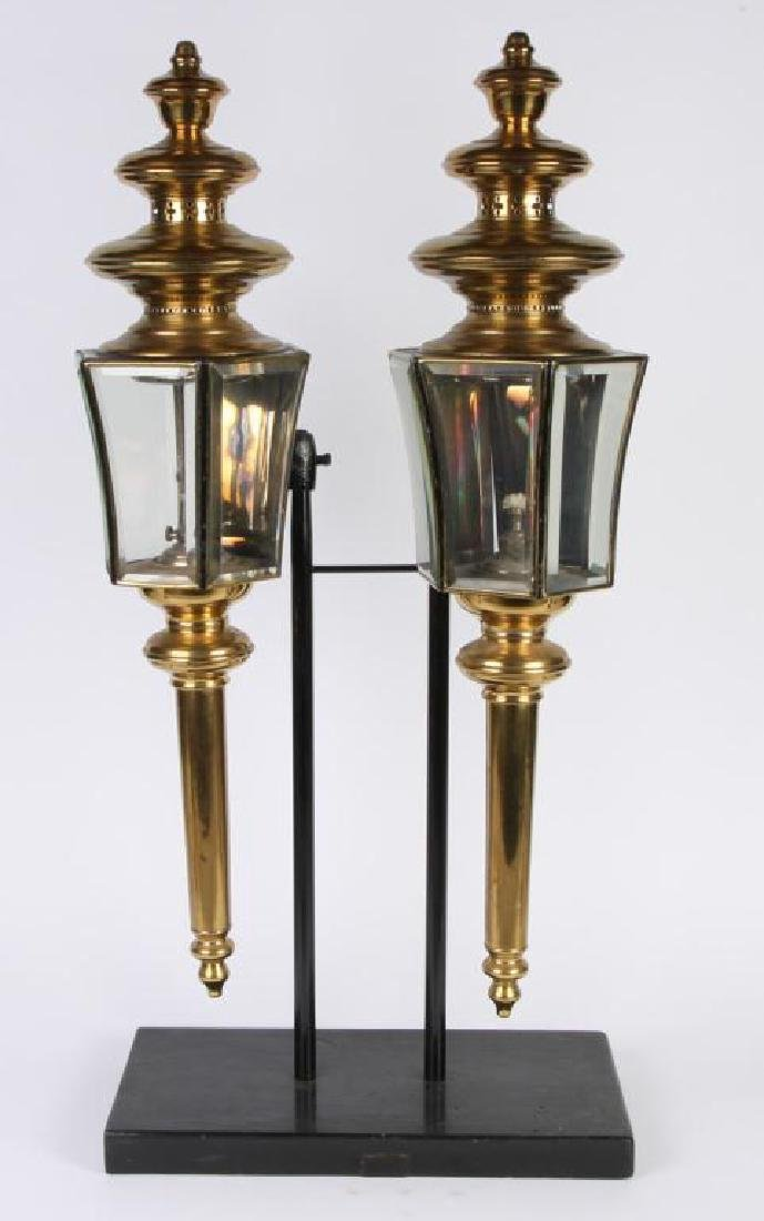 PAIR OF RESTORED HEARSE CARRIAGE LAMPS