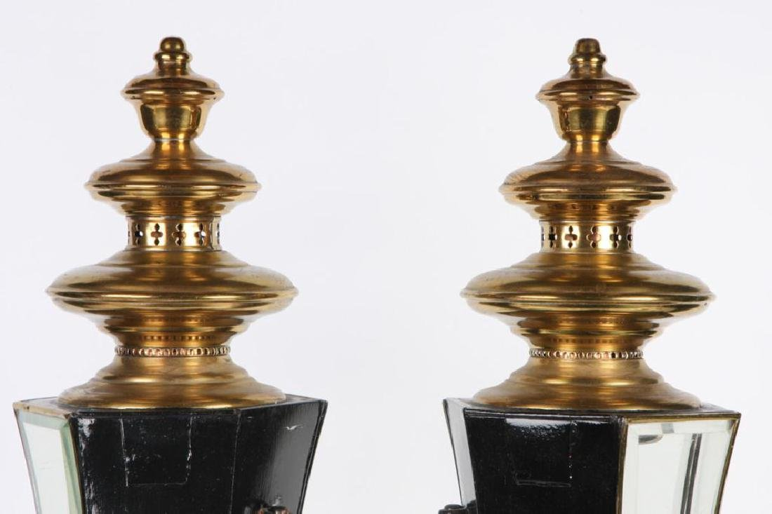 PAIR OF RESTORED HEARSE CARRIAGE LAMPS - 2