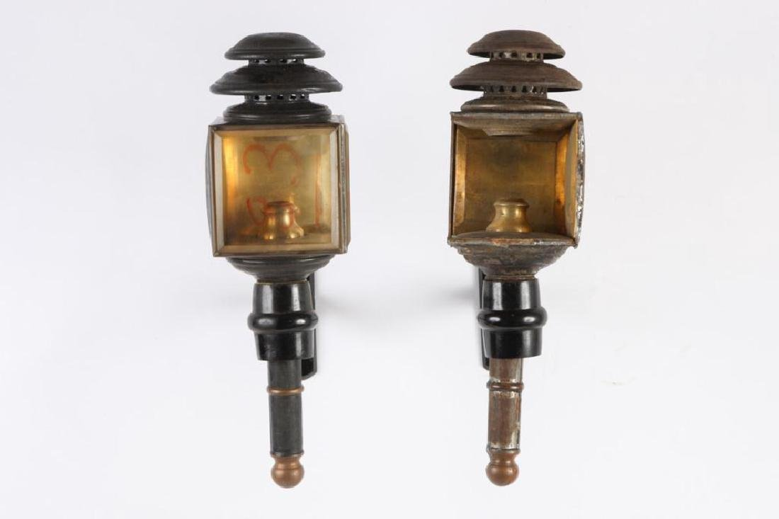 PAIR OF CANDLE CARRIAGE LAMPS