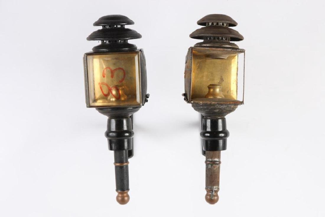 PAIR OF CANDLE CARRIAGE LAMPS - 4