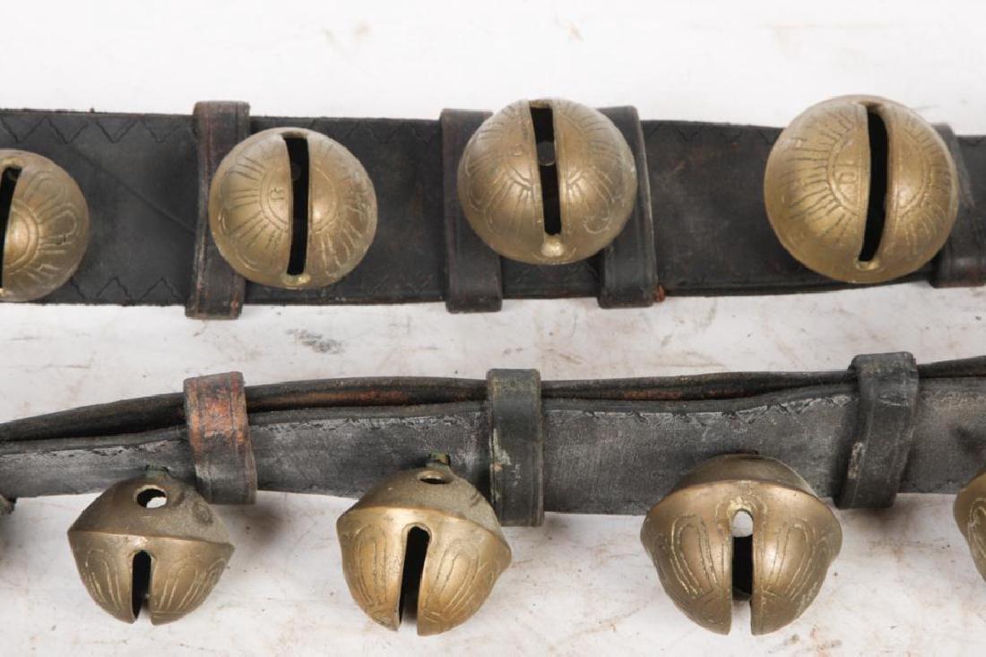 (2) LARGE BELTS OF GRADUATING BRASS PETAL BELLS - 6