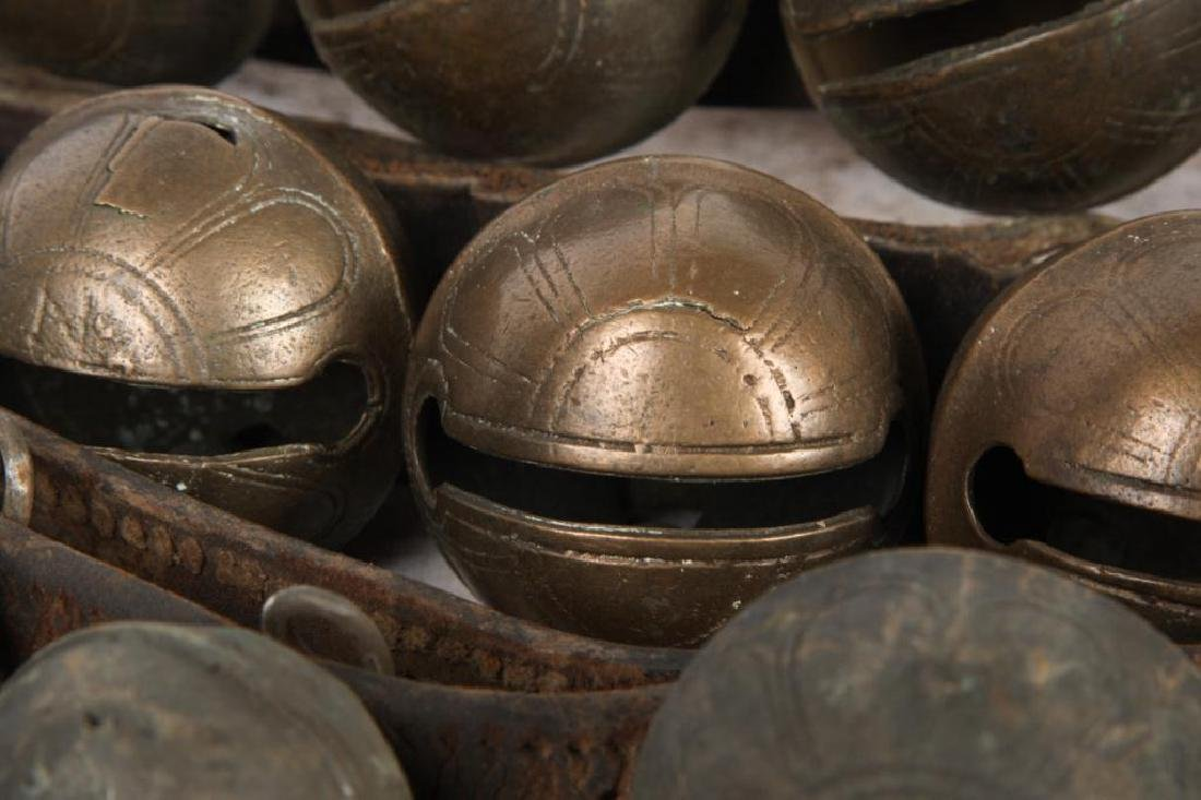 (3) BELTS OF BRASS SLEIGH BELLS SOME SIGNED - 2