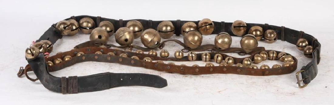 (3) BELTS OF BRASS SLEIGH BELLS SOME SIGNED - 4