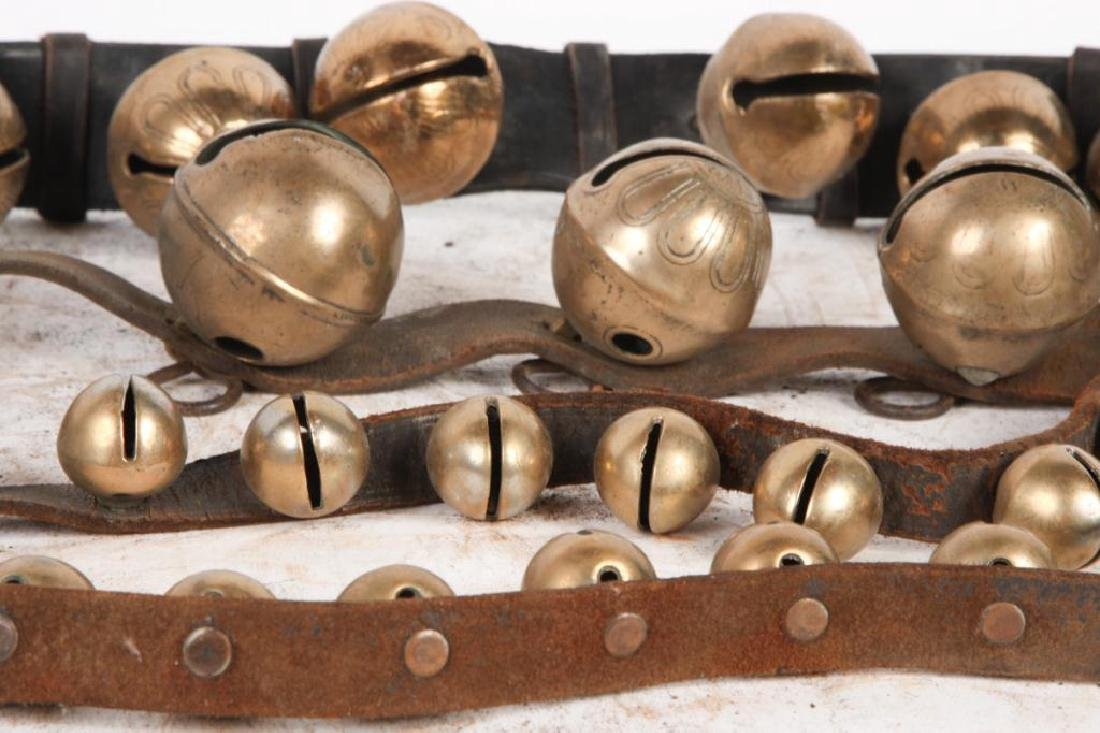 (3) BELTS OF BRASS SLEIGH BELLS SOME SIGNED - 5