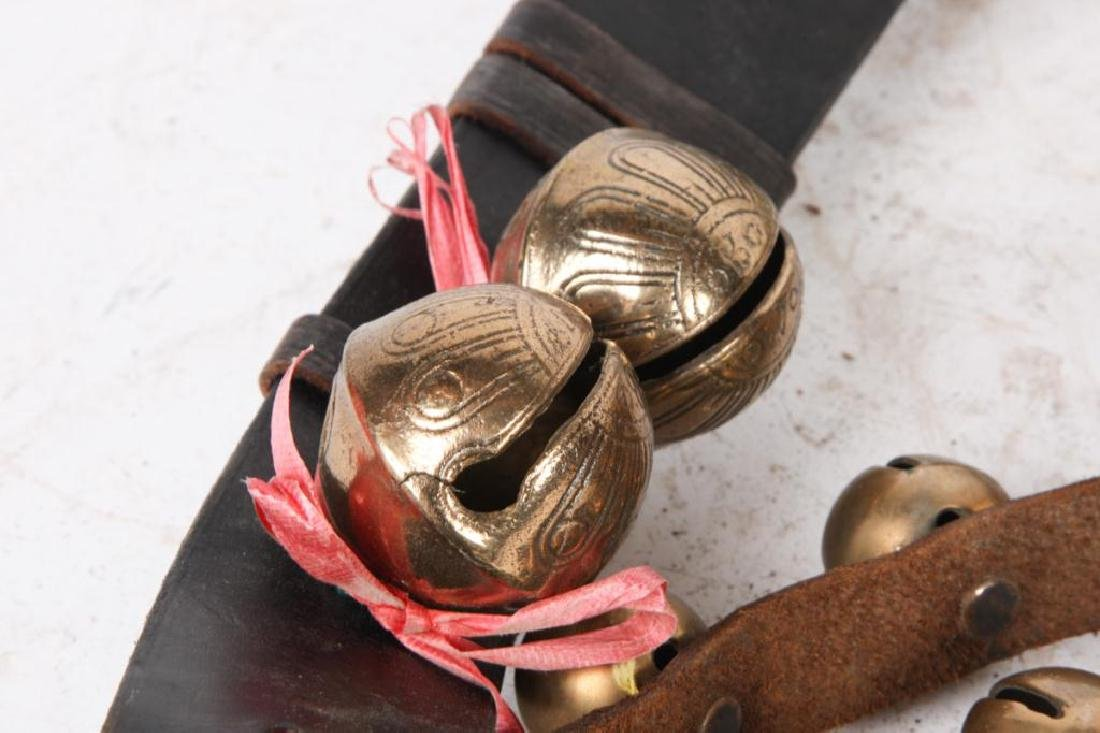 (3) BELTS OF BRASS SLEIGH BELLS SOME SIGNED - 6