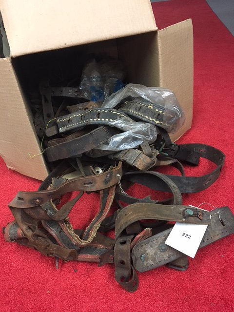 BOX OF INCOMPLETE ANTIQUE SLEIGH BELL STRAPS